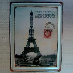 Plaque métal embossé Tour Eiffel
