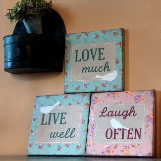 Trio toiles tendues Live Well Love Much Laugh Often 2