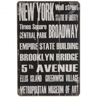 Panneau mural New York en bois