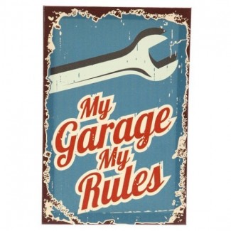 Cadre toile mécano My Garage My Rules