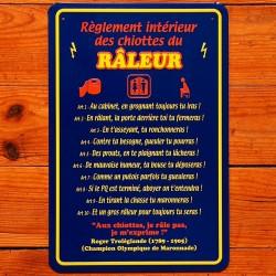 Plaque Règlement des Chiottes du Râleur
