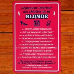 Plaque Règlement des Toilettes de la Blonde