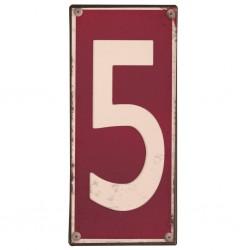 Plaque métal numéro 5