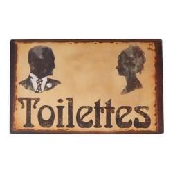 Plaque Toilettes Mixtes Rétro